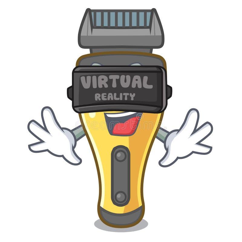 Máquina de afeitar eléctrica de la realidad virtual aislada con en la mascota ilustración del vector