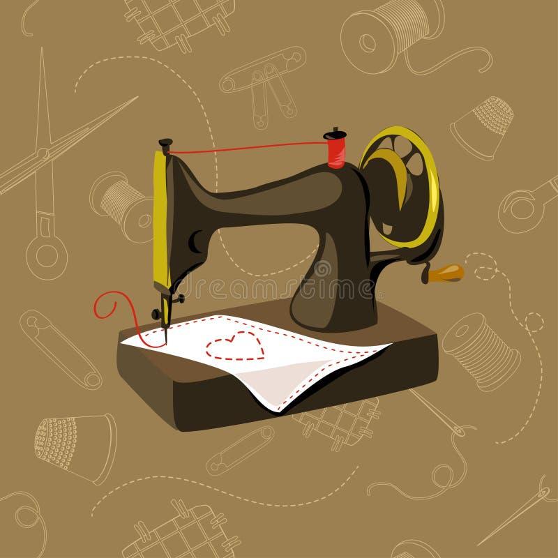 Máquina de coser, artículos inconsútiles, de costuras stock de ilustración