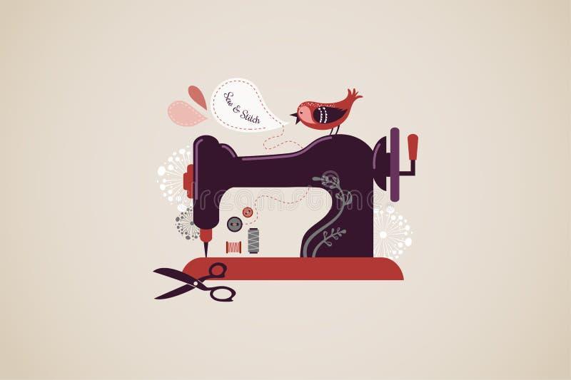 Máquina de coser del vintage stock de ilustración