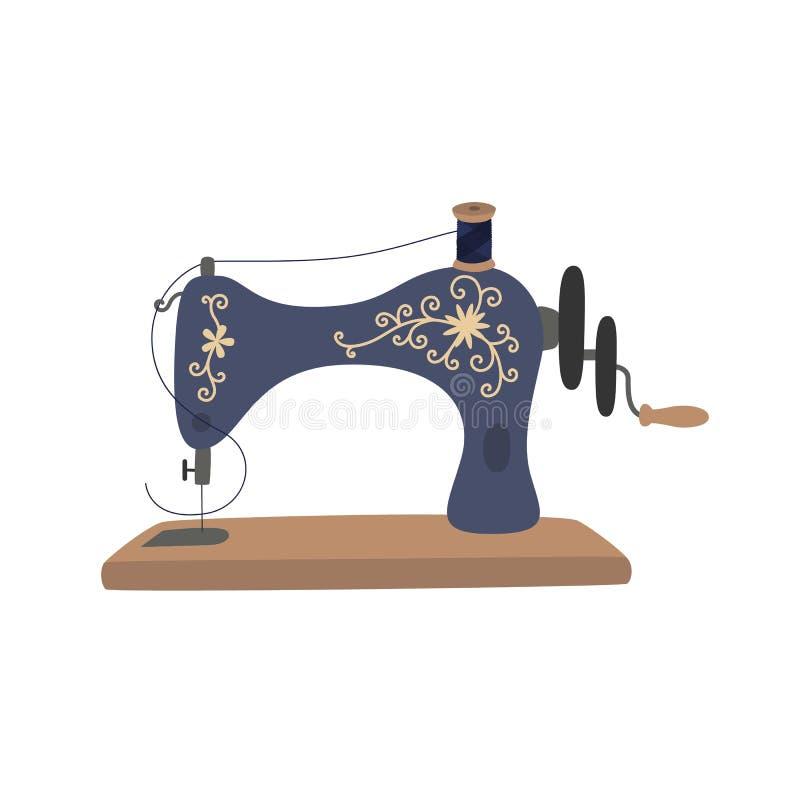 Máquina de coser del vintage con el hilo azul del carrete El equipo para cose la ropa de la voga handmade ilustración del vector