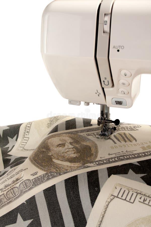 Máquina de coser y tela imágenes de archivo libres de regalías