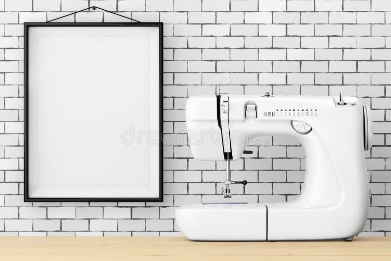 Máquina de costura branca moderna na frente da parede de tijolo com franco vazio ilustração royalty free
