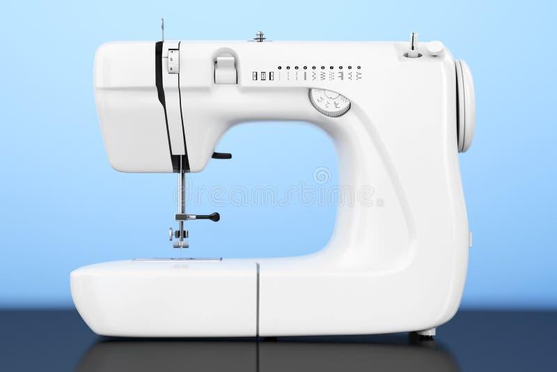 Máquina de costura branca moderna rendição 3d ilustração stock