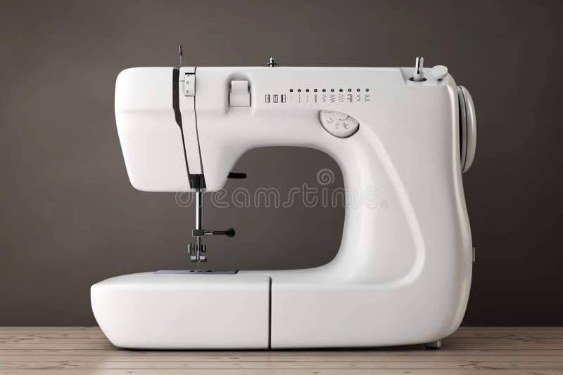 Máquina de costura branca moderna rendição 3d ilustração do vetor