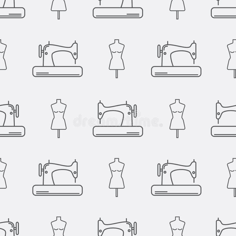 Máquina de costura e manequim Fundo sem emenda do teste padrão ilustração royalty free