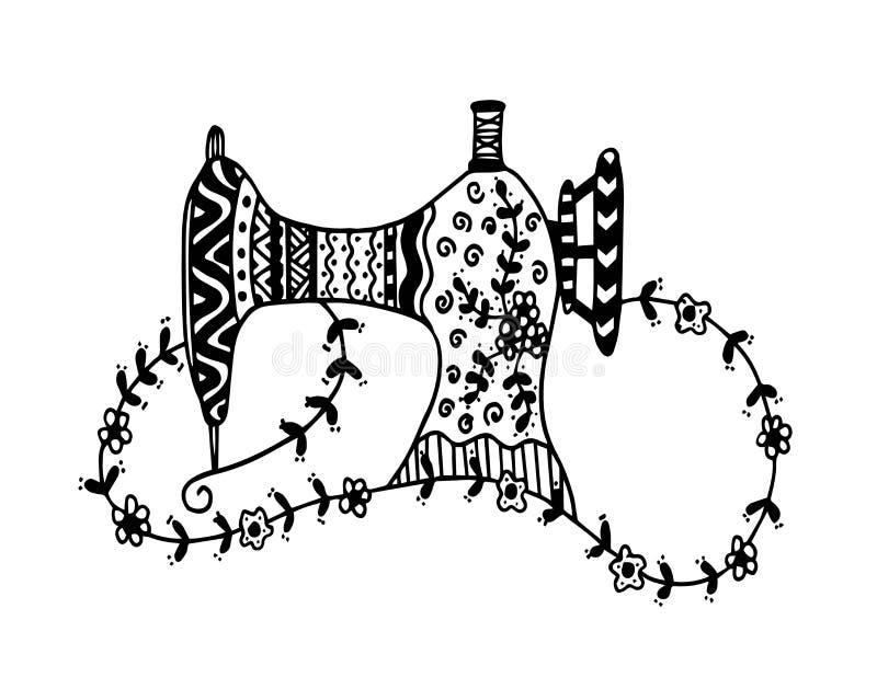 Máquina de costura Esboço desenhado mão Ilustração do vetor ilustração do vetor