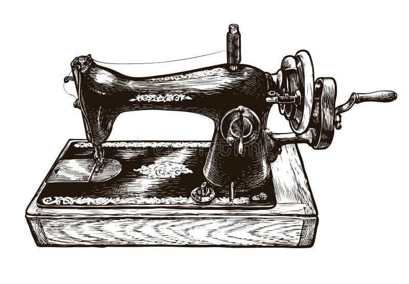 Máquina de costura, esboço Oficina da costura Ilustração do vetor do vintage ilustração do vetor