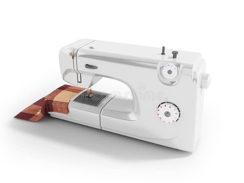 Máquina de costura moderna com material para o persp do branco das costureiras ilustração do vetor