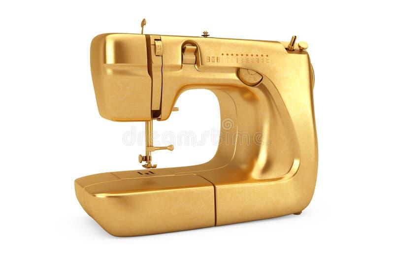 Máquina de costura moderna dourada rendição 3d ilustração do vetor
