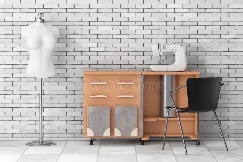 Máquina de costura no alfaiate Workshop Wooden Table perto de Vintag branco ilustração do vetor
