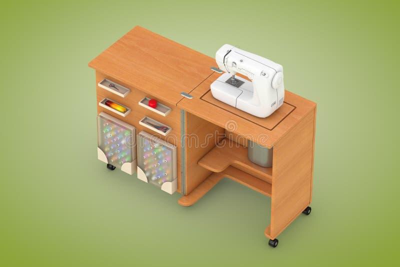 Máquina de costura no alfaiate Workshop Wooden Table rendição 3d ilustração do vetor