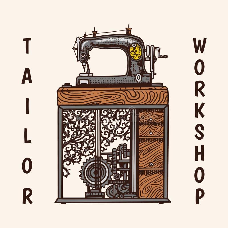Máquina de costura Os crachás da loja do alfaiate etiquetam Ferramenta e elemento para o bordado Equipamento feito a mão Mão grav ilustração stock