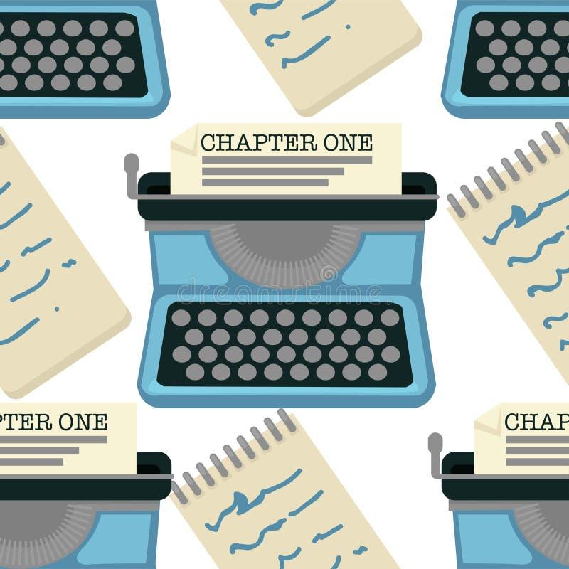 Máquina de datilografia capítulo sem emenda do teste padrão uma escrita da novela ilustração do vetor