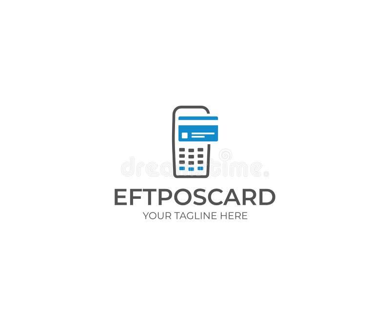 Máquina de Eftpos e cartão Logo Template Pagamento sem contato ilustração royalty free