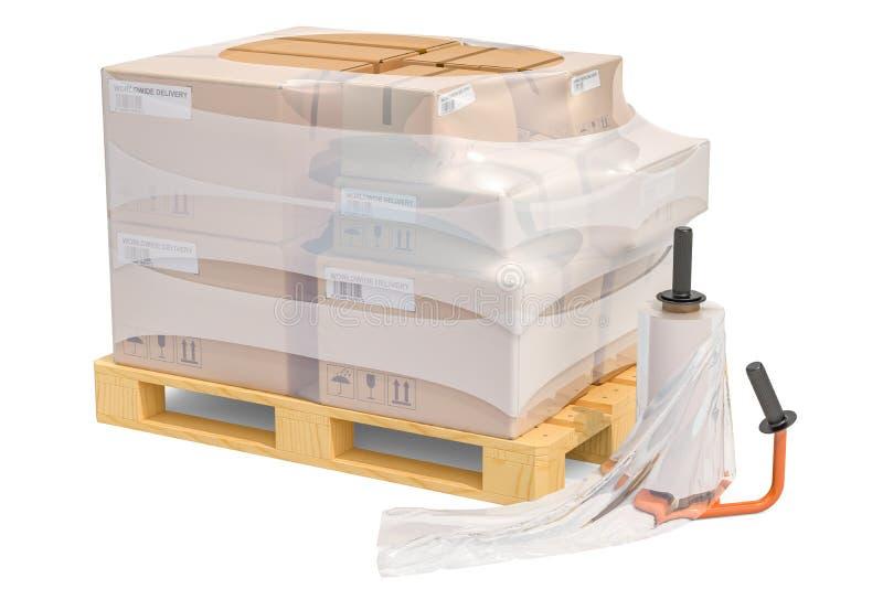 Máquina de envolvimento manual do estiramento do filme e pálete de madeira com parc ilustração stock
