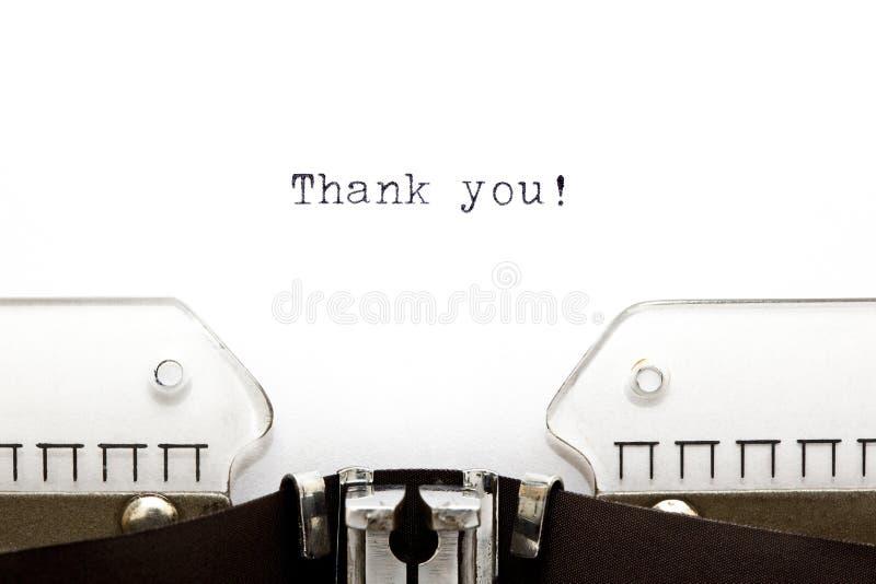 A máquina de escrever agradece-lhe fotografia de stock royalty free