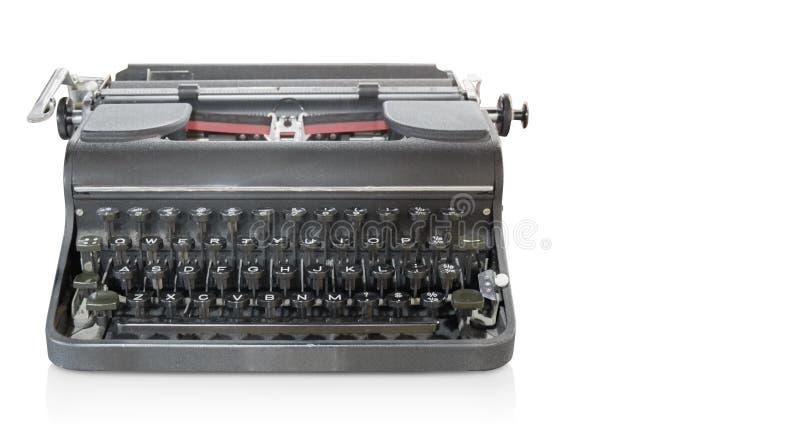 Máquina de escrever cinzenta antiga da vista dianteira no fundo branco, objeto, co fotografia de stock royalty free