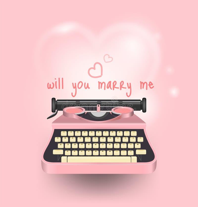 A máquina de escrever cor-de-rosa escreve uma mensagem você casar-me-á, dia de são valentim feliz, cartão bonito com coração, tex ilustração stock
