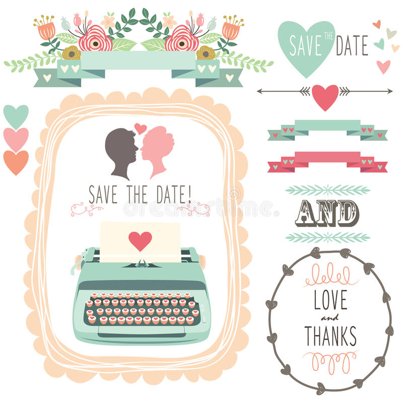 Máquina de escrever do vintage do casamento ilustração royalty free