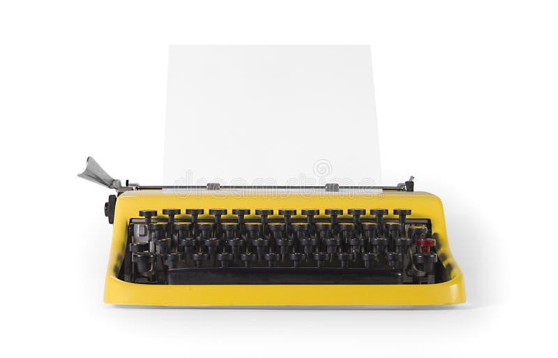 Máquina de escrever do vintage na vista dianteira - com trajeto de grampeamento foto de stock royalty free