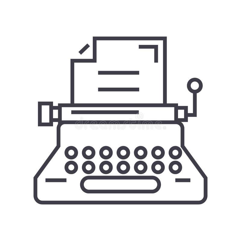 Máquina de escrever, escritor, escrita, linha copywriting ícone do vetor, sinal, ilustração no fundo, cursos editáveis ilustração royalty free