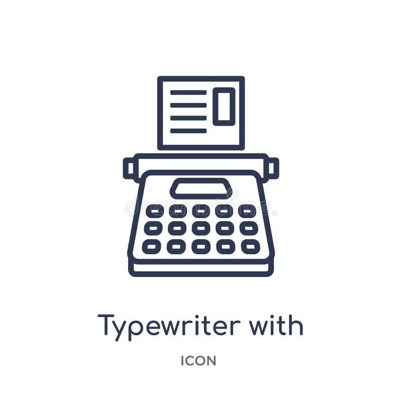 Máquina de escrever linear com ícone do papel da coleção do esboço geral Linha fina máquina de escrever com o ícone do papel isol ilustração do vetor
