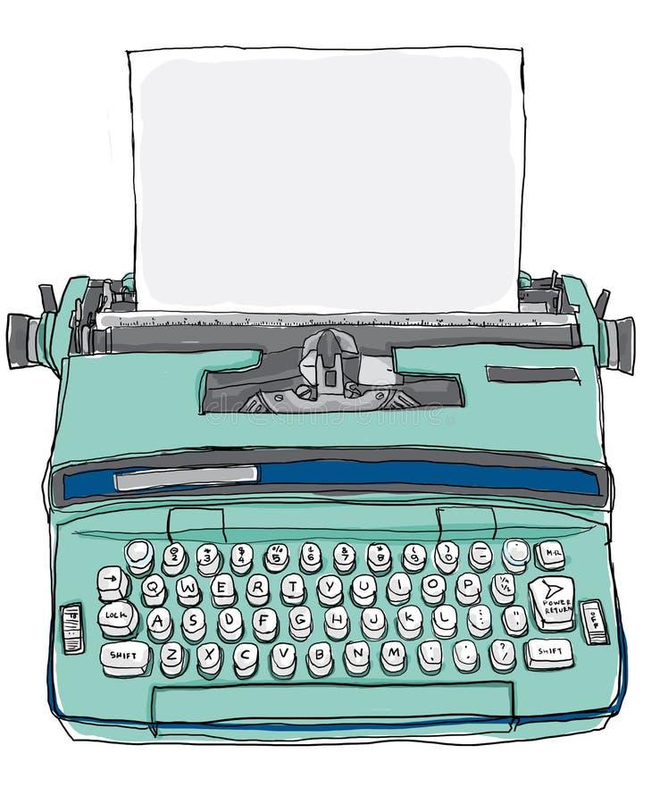 Máquina de escrever manual búlgara do vintage ilustração do vetor
