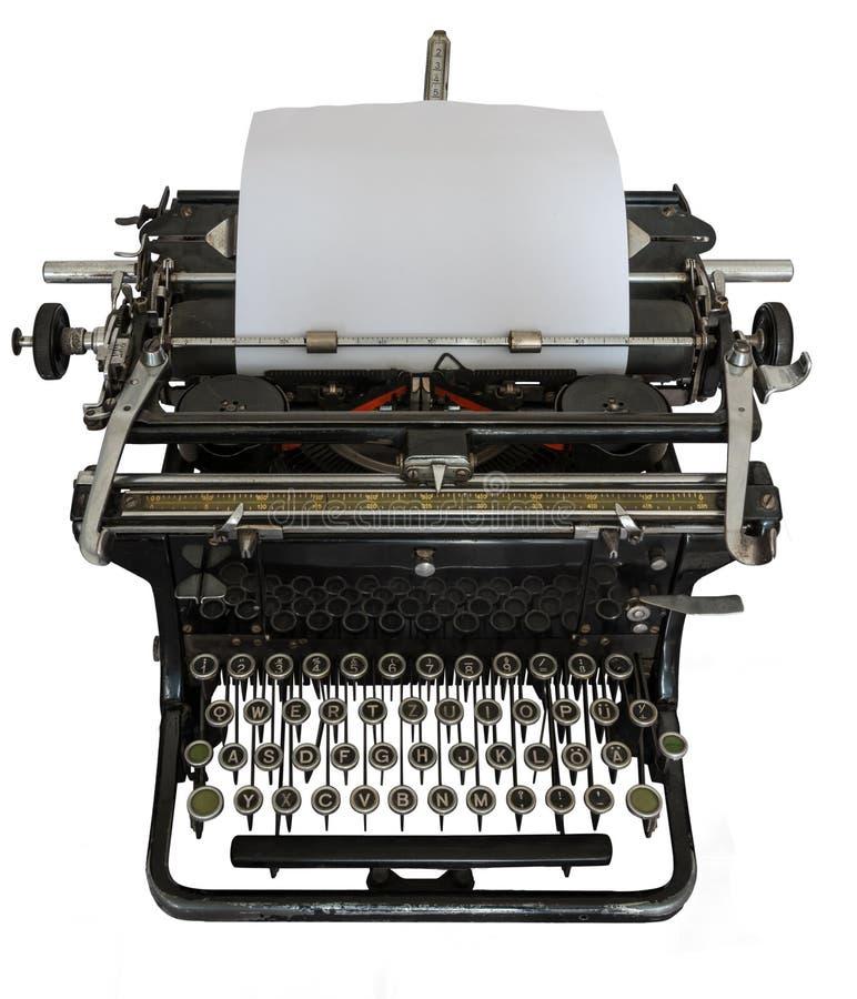 Máquina de escrever manual do vintage isolada no fundo branco foto de stock royalty free