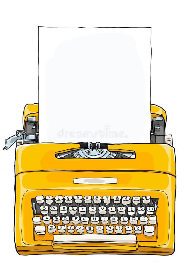 Máquina de escrever manual portátil da máquina de escrever amarela ilustração do vetor