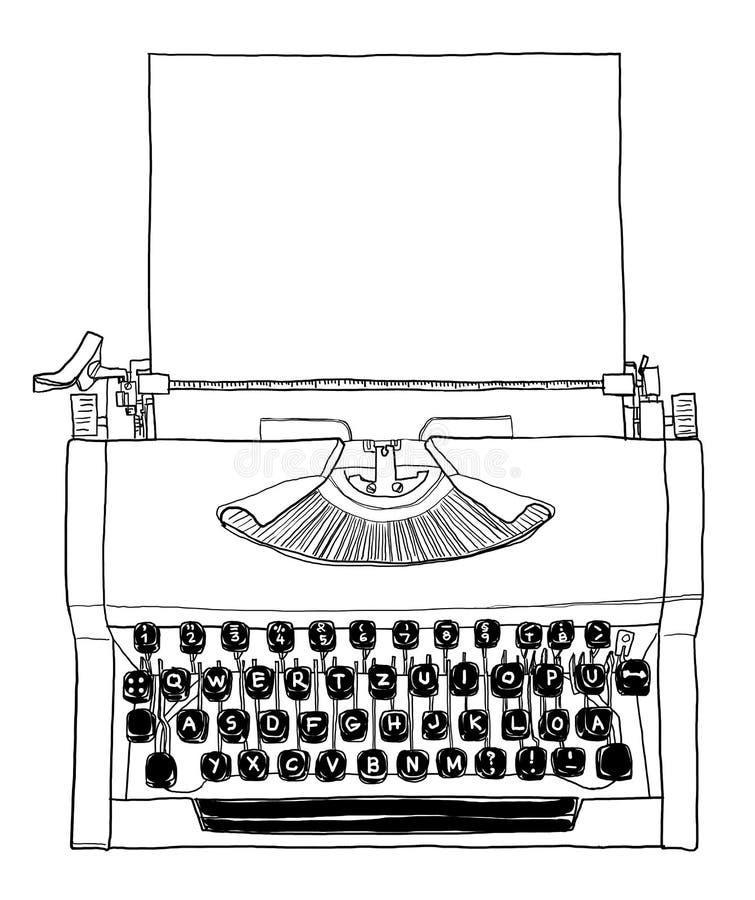 máquina de escrever 70s manual preto e branco com linha de papel AR ilustração royalty free