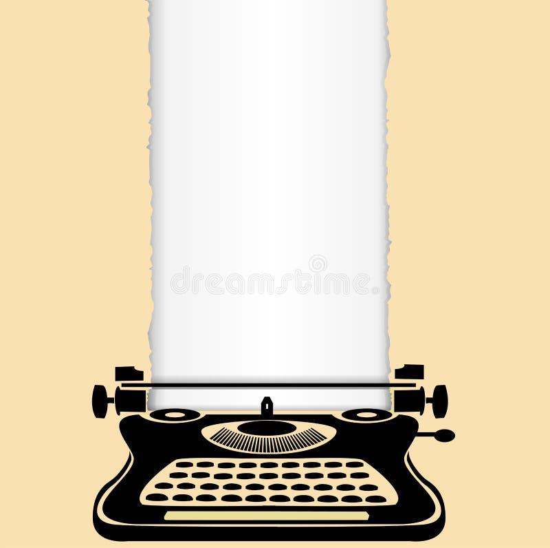 Máquina de escrever velha de papel rasgada ilustração royalty free
