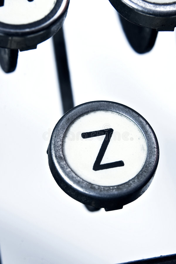 Máquina de escrever velha Z keytop fotografia de stock