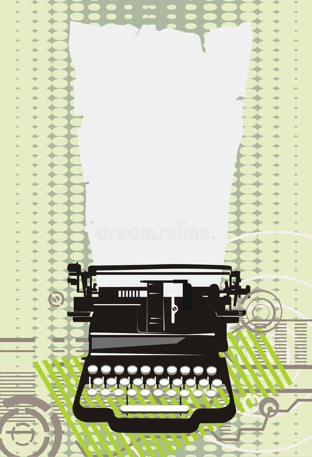 Máquina de escrever verde ilustração do vetor