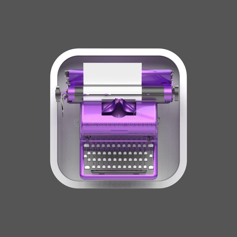Máquina de escribir brillante del vintage con la hoja de papel en fondo cuadrado redondeado stock de ilustración