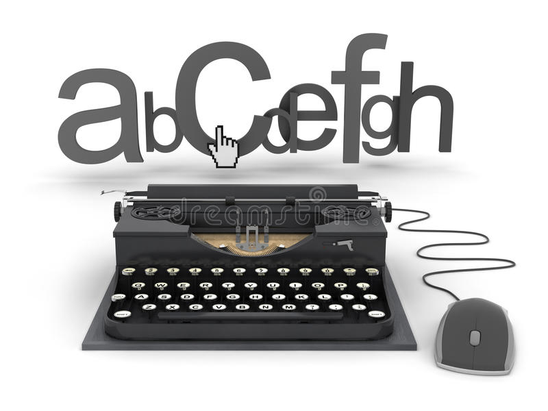 Máquina de escribir, cartas y mano del cursor libre illustration