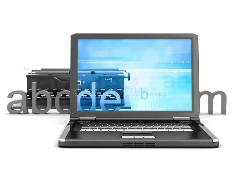 Máquina de escribir, computadora portátil y cartas retras stock de ilustración