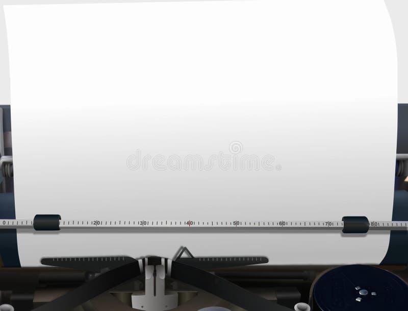 Máquina de escribir con el papel en blanco stock de ilustración