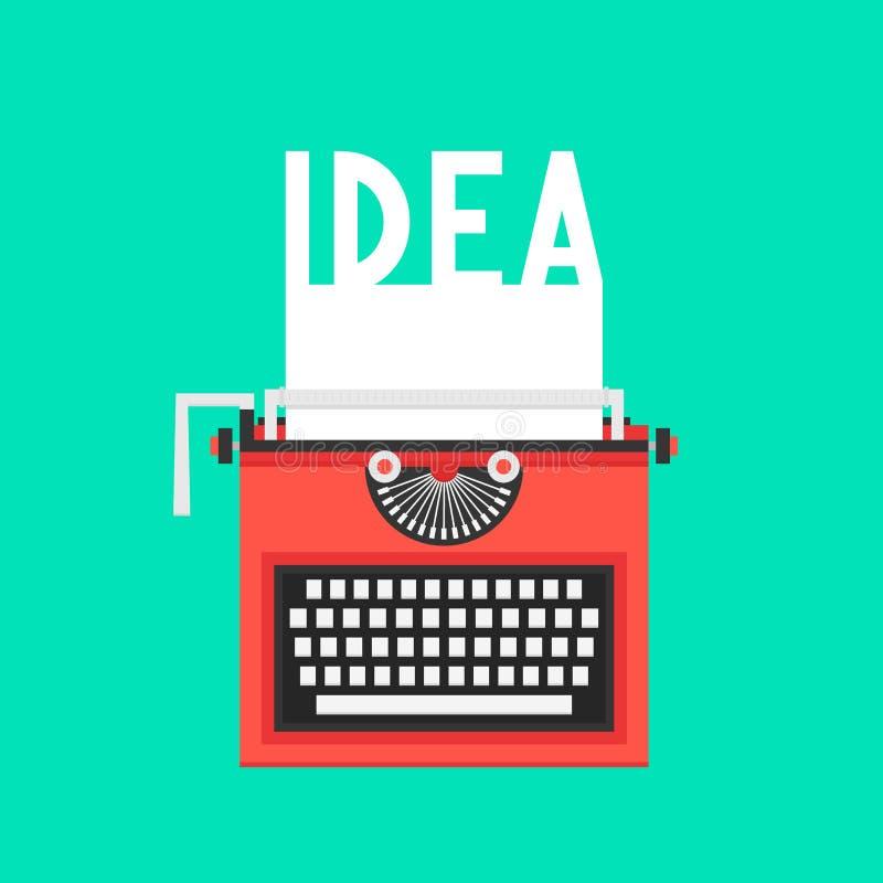 Máquina de escribir con el texto de la idea en la hoja blanca ilustración del vector