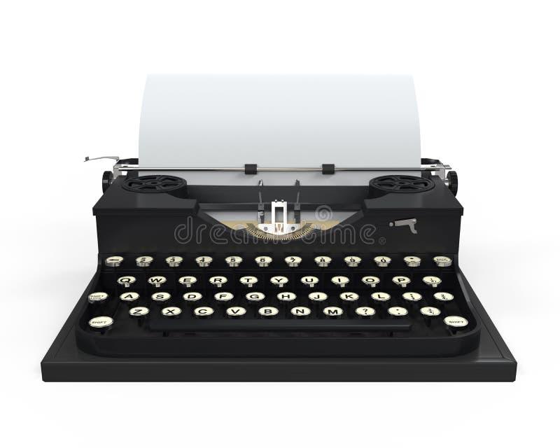 Máquina de escribir con la hoja de papel stock de ilustración