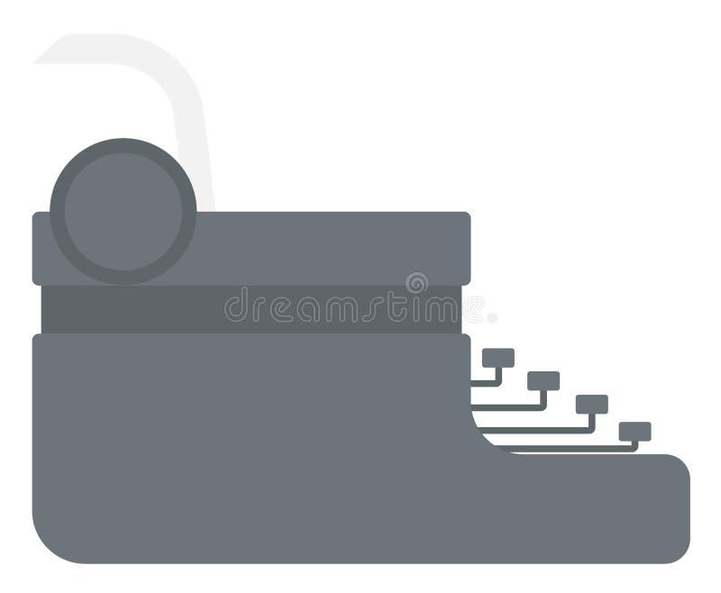 Máquina de escribir con la hoja de papel ilustración del vector