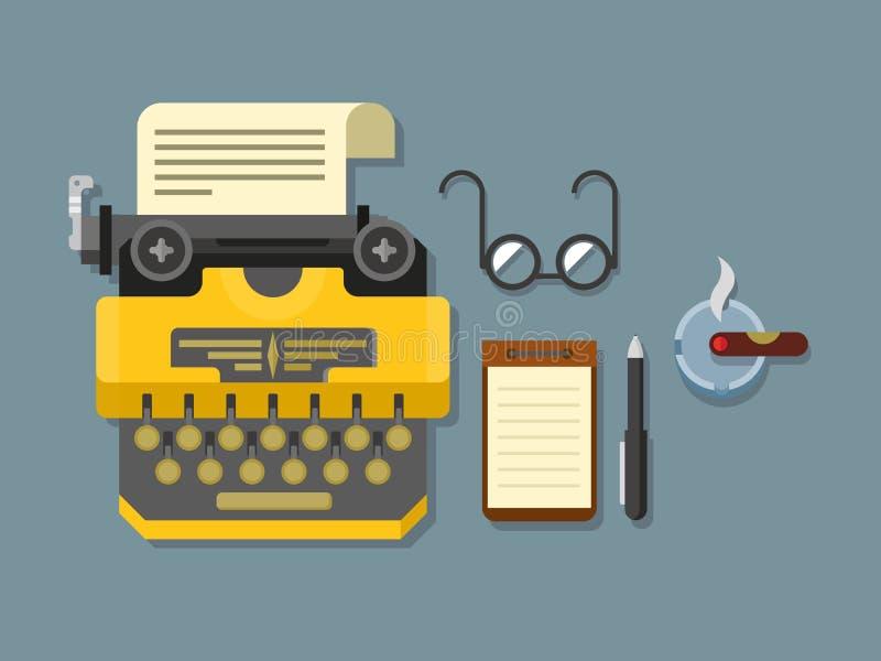 Máquina de escribir con la hoja de papel, vidrios, libreta ilustración del vector
