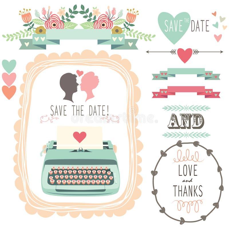 Máquina de escribir del vintage de la boda libre illustration
