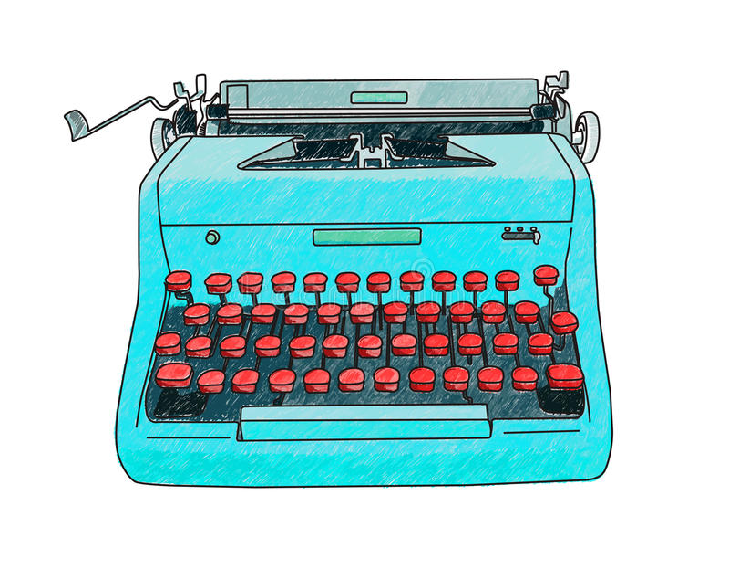 Máquina de escribir dibujada mano libre illustration