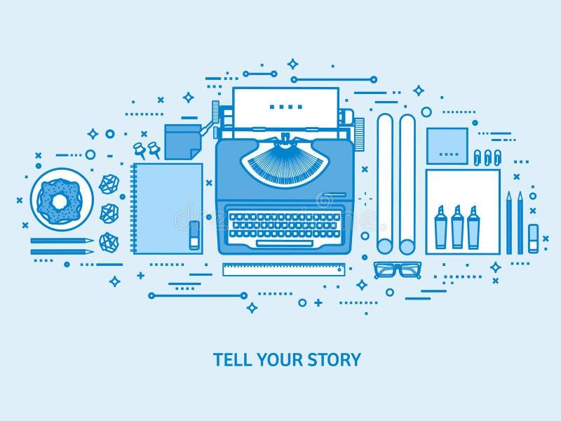 Máquina de escribir en una tabla Cuente su historia Autor Plataforma que bloguea Fondo azul plano del esquema L?nea vector del ar ilustración del vector