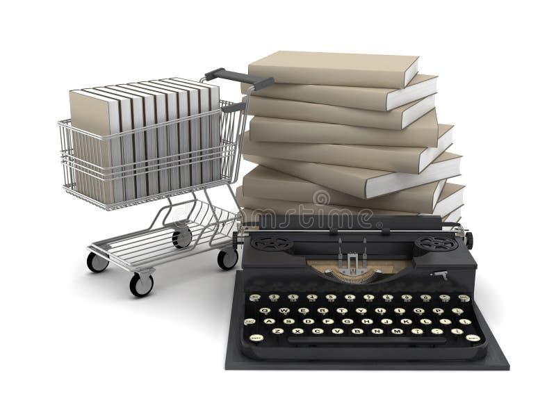 Máquina de escribir, libros y carro de la compra retros ilustración del vector