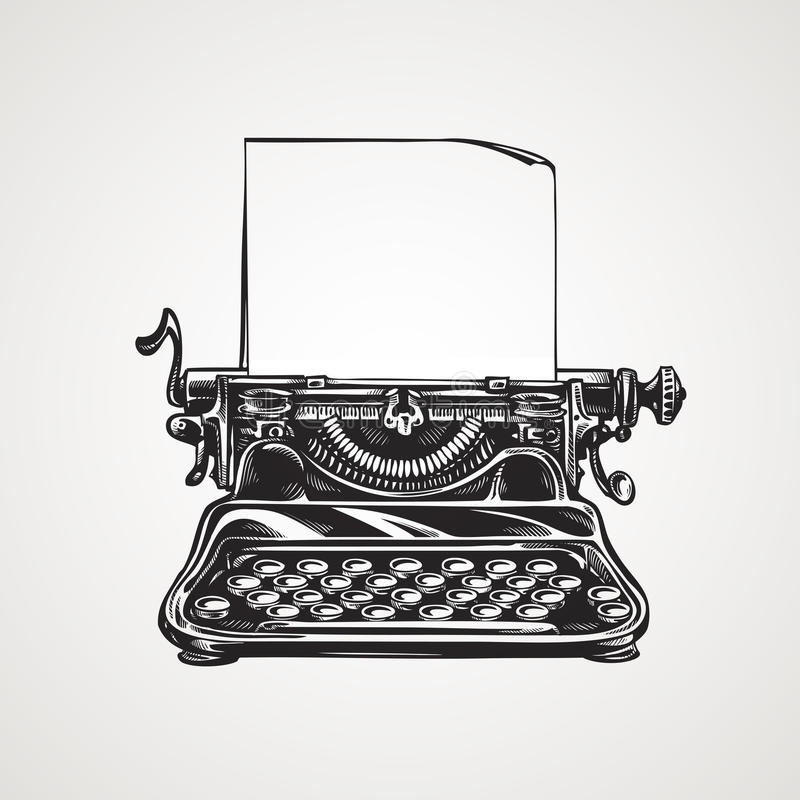 Máquina de escribir mecánica del vintage Ejemplo del vector del bosquejo libre illustration