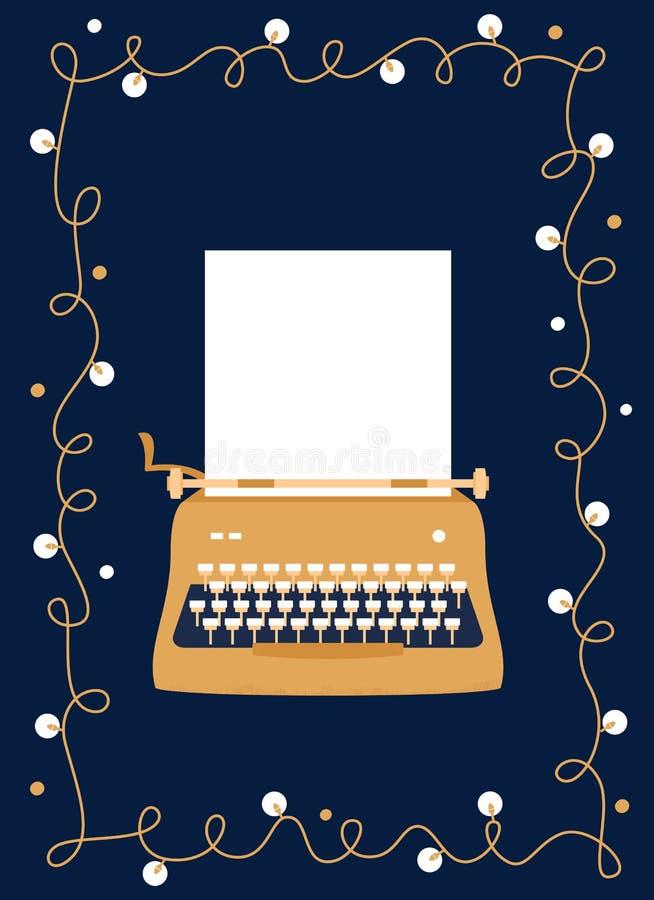 Máquina de escribir de oro diseñada retra con la hoja de papel en blanco diseño festivo del vector Tarjeta de felicitación ilustración del vector
