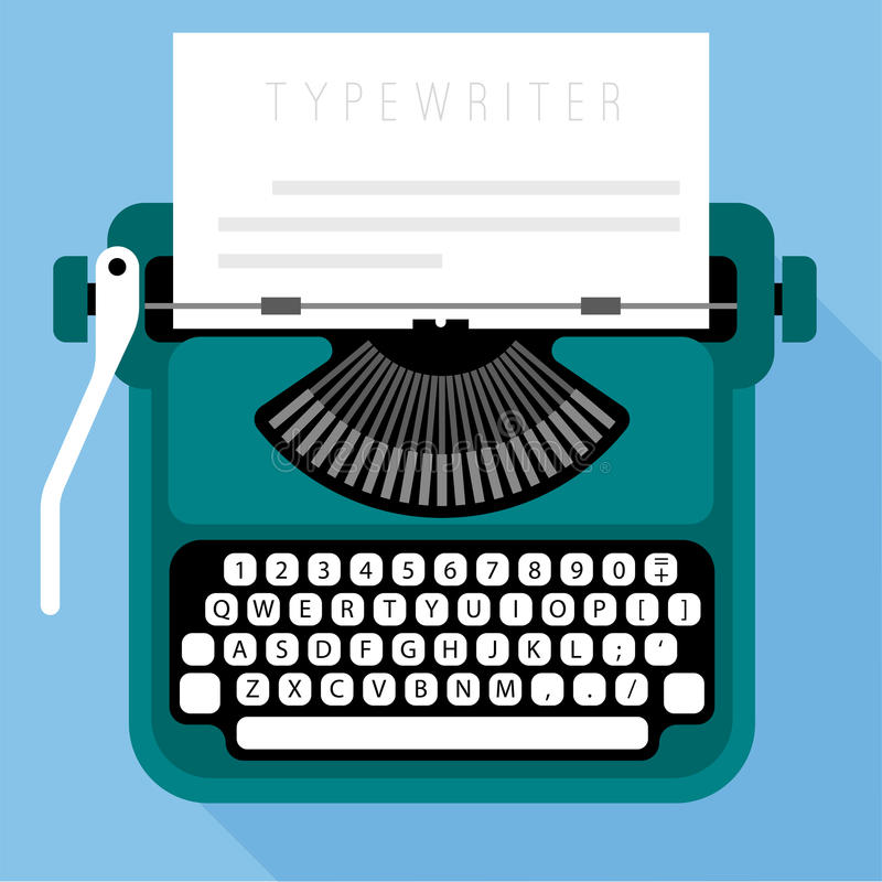 Máquina de escribir retra del diseño plano ilustración del vector