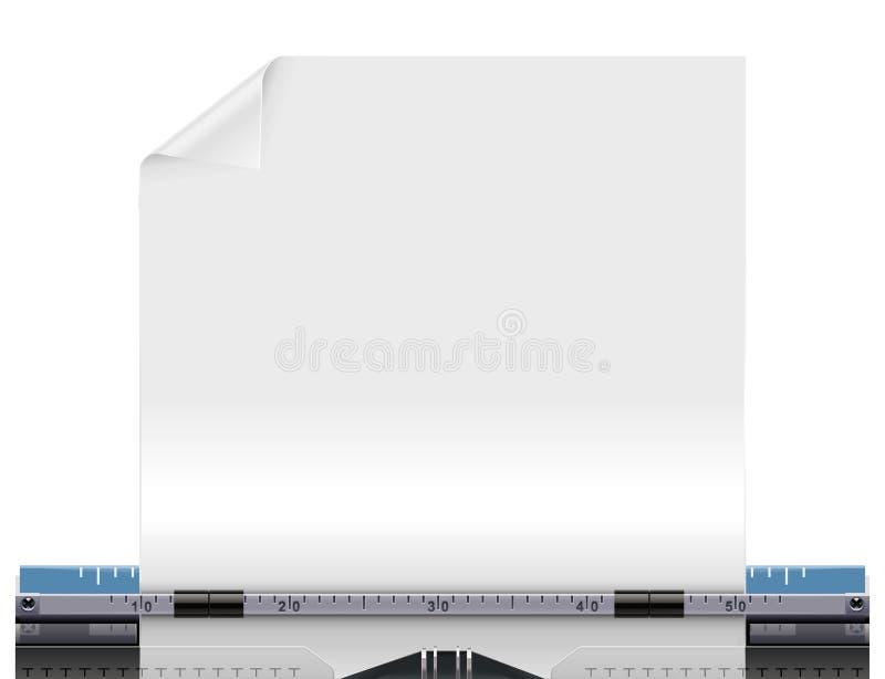 Máquina de escribir retra del vector con un papel en blanco ilustración del vector