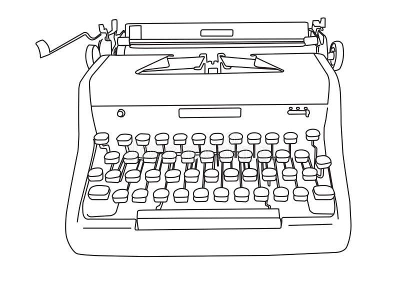 Máquina de escribir retra dibujada mano ilustración del vector